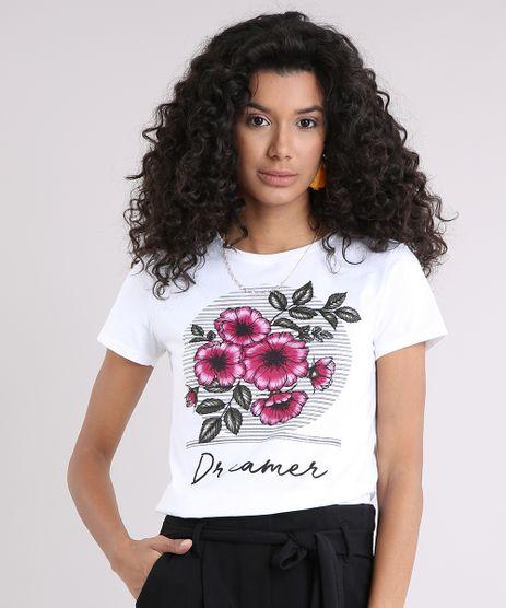 Blusa-Feminina--Dreamer--com-Estampa-Floral-Manga-Curta-Decote-Redondo-Off-White-9249367-Off_White_1