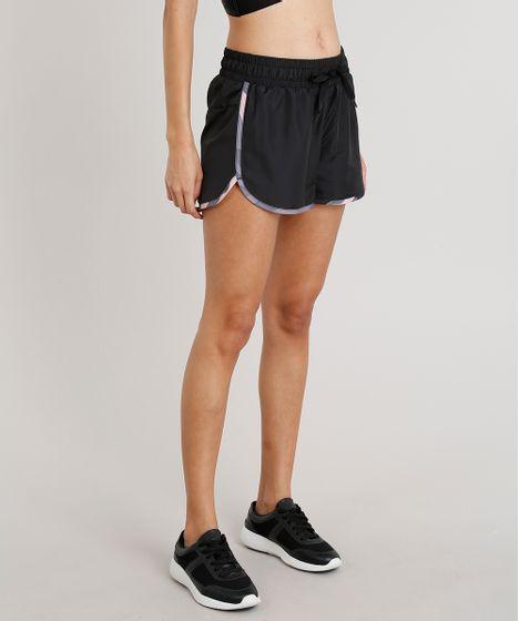 cb8560a60 Short Feminino Running Esportivo Ace com Vivo Estampado Preto - cea