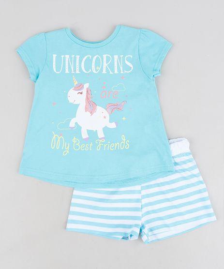 Pijama-Infantil-Unicornio-com-Glitter-Manga-Curta-Azul-9288066-Azul_1