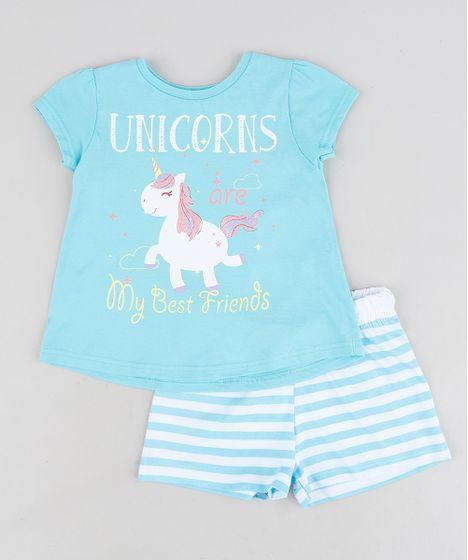 cc62399a1 Pijama Infantil Unicórnio com Glitter Manga Curta Azul - cea