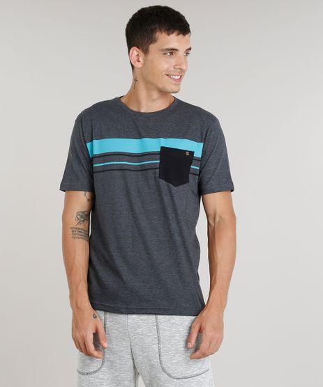Camiseta-Masculina-com-Listras-e-Bolso-Manga-Curta- 6b4974acfd7