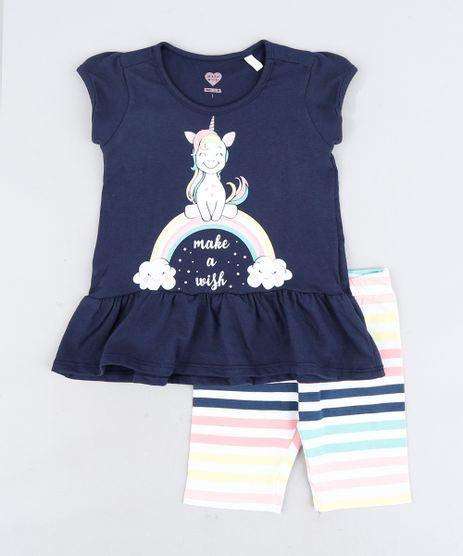 Conjunto-Infantil-de-Blusa-Unicornio-Manga-Curta-Azul-Marinho---Bermuda-Listrada-Branca-9318880-Branco_1