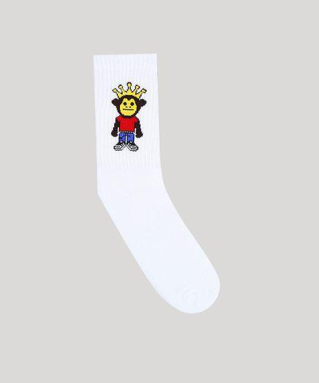 Meia-Masculina-Kings-Sneakers-Macaco-Cano-Longo-Branca-9309999-Branco_1