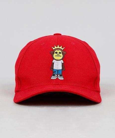 Bone-Masculino-Kings-Sneakers-Monkey-Aba-Curva-com-Bordado-Vermelho-9303062-Vermelho_1