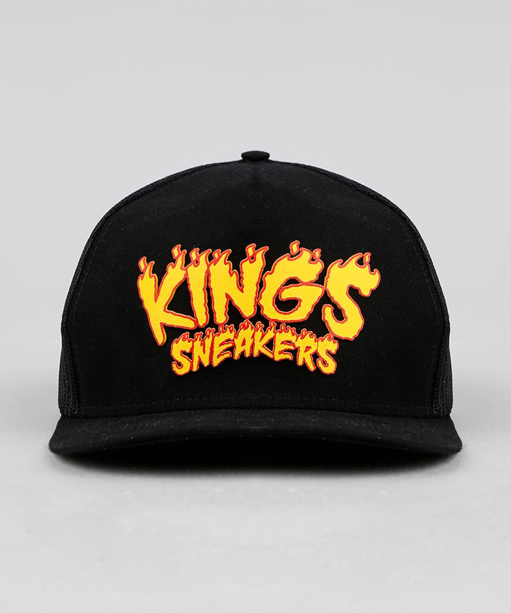 Boné Masculino Kings Sneakers Aba Reta com Tela Preto - ceacollections 3e8d0412999
