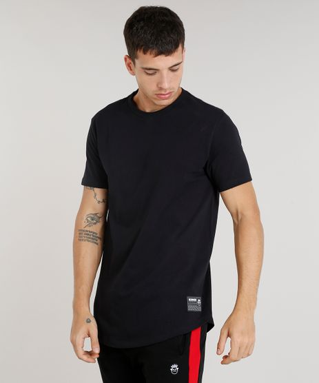 Camiseta-Masculina-Alongada-Kings-Sneakers-Manga-Curta-Gola-Careca-Preta-9285483-Preto_1