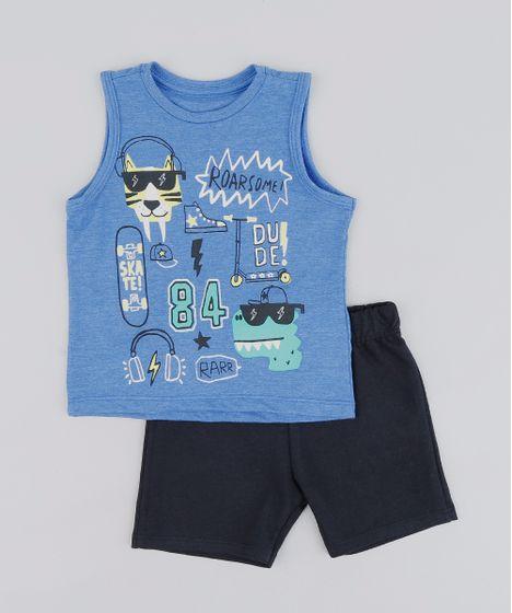 Conjunto Infantil de Regata Estampada Azul + Bermuda em Moletom ... 32c0ef1770346