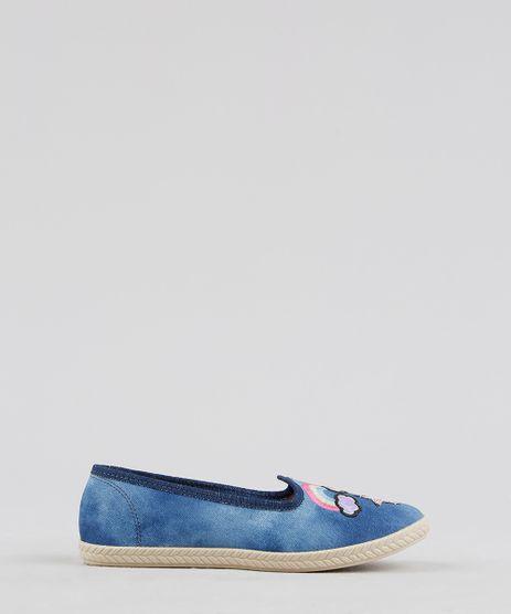 Sapatilha-Infantil-Molekinha-em-Jeans-com-Bordados-Azul-Medio-9312146-Azul_Medio_1
