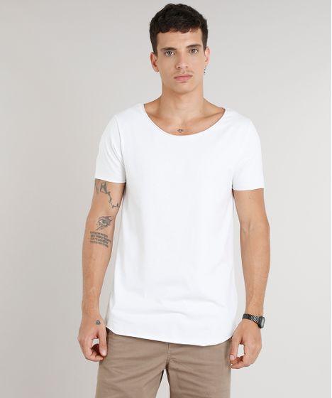 1af41e9be cea · Moda Masculina · Camisetas. Camiseta-Masculina-Longa-Manga-Curta-Gola- Canoa-Off- ...