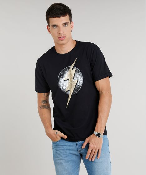 c25326afd5 Camiseta Masculina The Flash Manga Curta Gola Careca Preta - cea