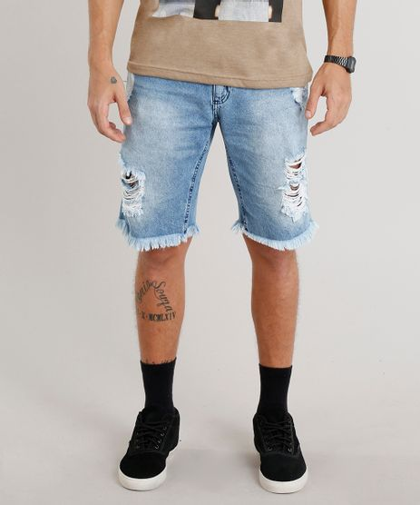 Bermuda-Jeans-Masculina-Reta-Destroyed-Azul-Claro-9274469-Azul_Claro_1