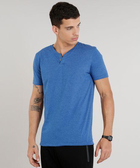 Camiseta-Masculina-Basica-com-Botoes-Manga-Curta-Gola-Careca-Azul-9324949-Azul_1