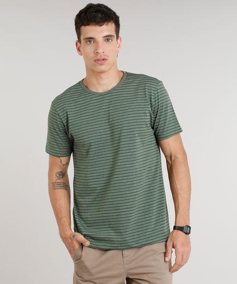 Camiseta-Masculina-Basica-Listrada-Manga-Curta-Gola-Careca--Verde-Escuro-8551673-Verde_Escuro_1