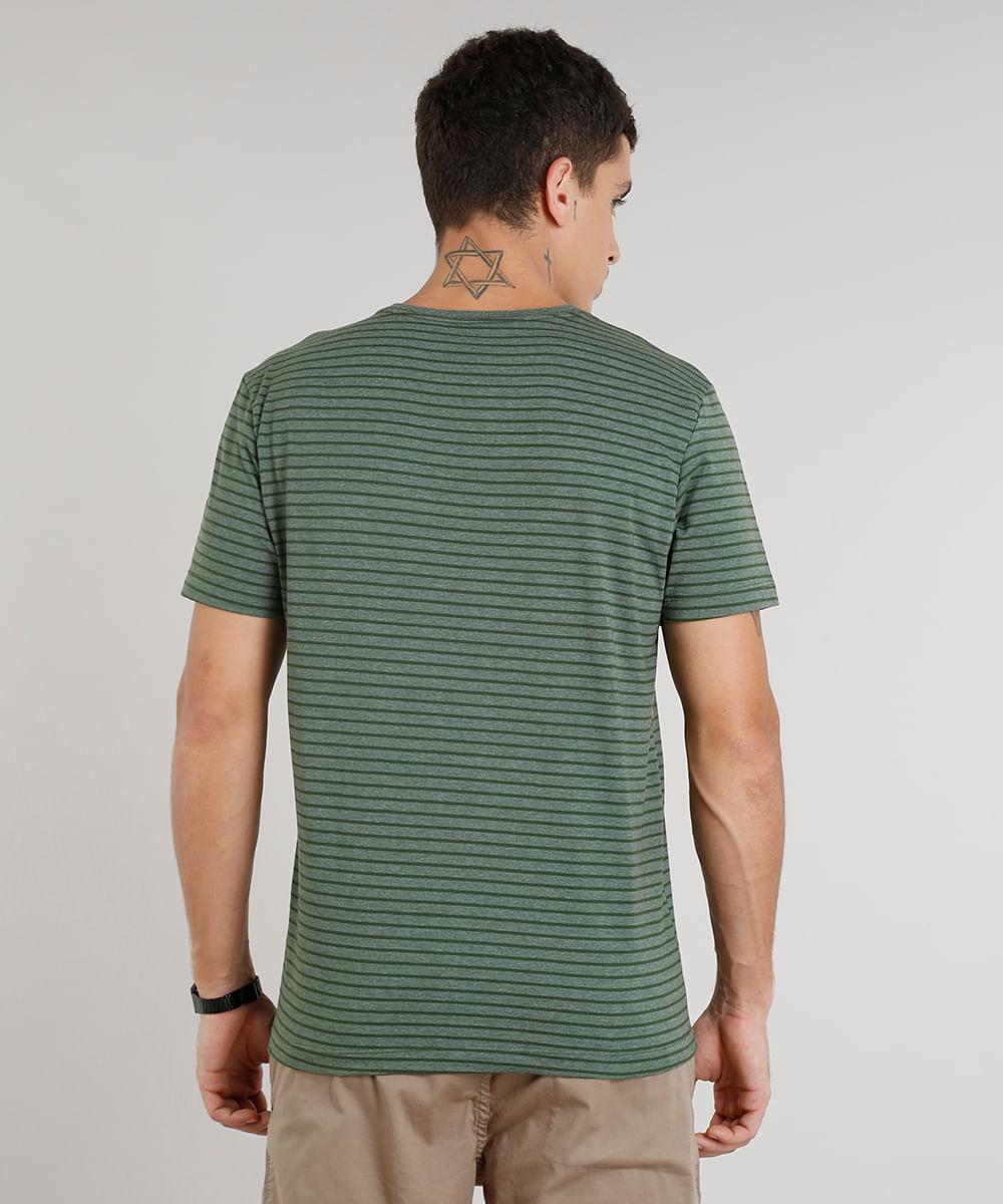 f8235c55bf Camiseta Masculina Básica Listrada Manga Curta Gola Careca Verde ...