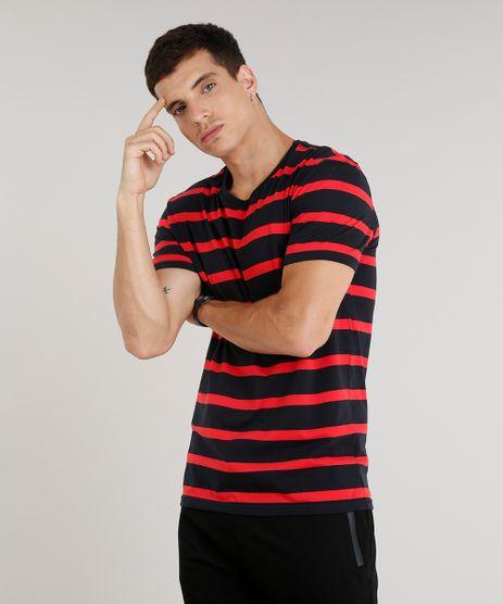 Camiseta-Masculina-Listrada-Manga-Curta-Gola-Careca-Preta-9286217-Preto_1