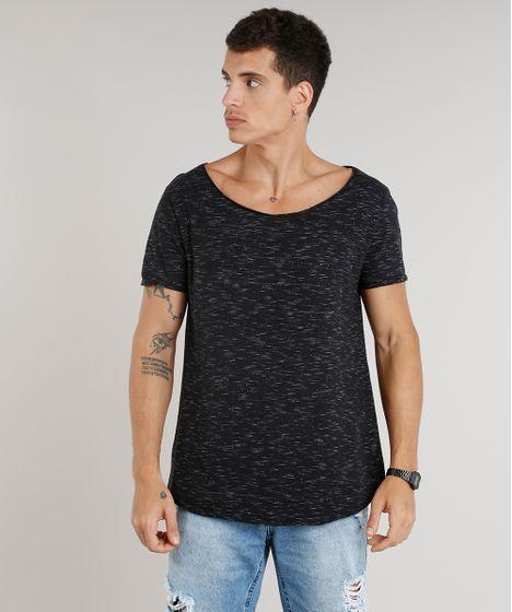 Camiseta Masculina Longa Manga Curta Gola Canoa Preta - cea 84783dcbbf4