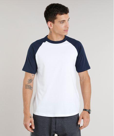 59c5187a4e Camiseta Masculina Raglan Manga Curta Gola Careca Branca - cea