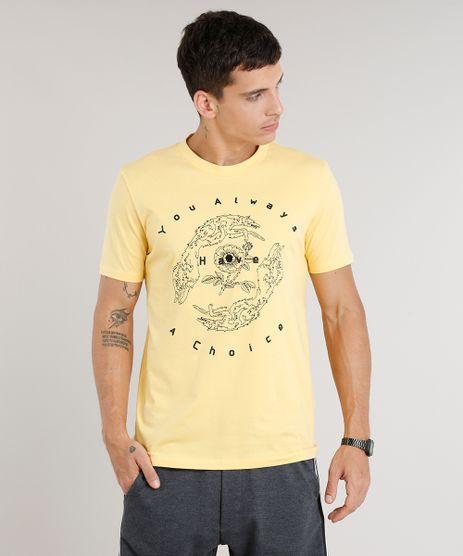 Camiseta-Masculina-com-Bordado-Manga-Curta-Gola-Careca-Amarela-9286913-Amarelo_1