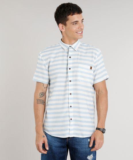 Camisa-Masculina-Listrada-com-Bolso-Manga-Curta-em-Linho-Off-White-9334906-Off_White_1