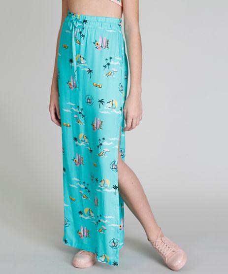 Saia-Infantil-Longa-Love-Dress-Estampada-Praia-com-Fendas-Verde-Claro-9281198-Verde_Claro_1