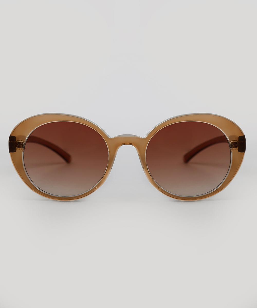 9723da232f Óculos de Sol Redondo Feminino Dress To Marrom - ceacollections