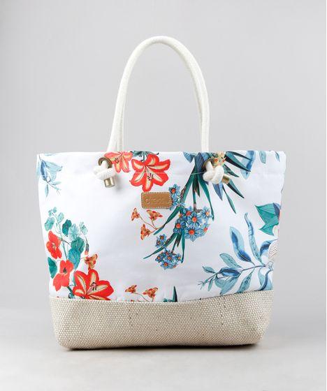 Bolsa de Praia Feminina Dress To Estampada Floral com Palha Branca - cea 5cb2effb162