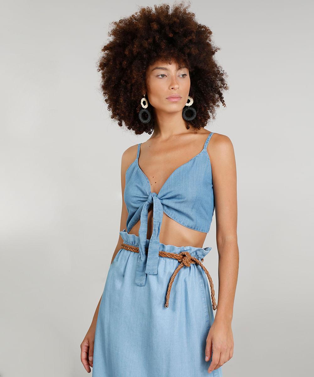 a42a05c8d8 Top Jeans Feminino Cropped Dress To com Laço Azul Médio - ceacollections