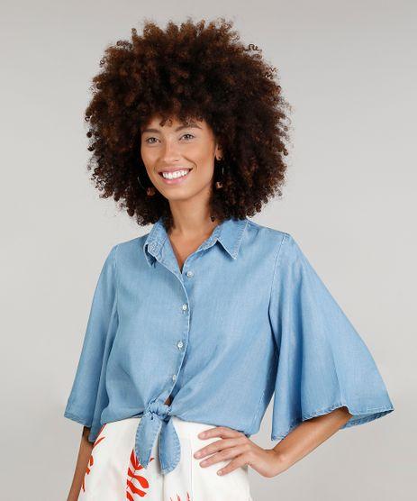 Camisa-Jeans-Feminina-Cropped-Dress-To-Manga-Borboleta-Azul-Claro-9269787-Azul_Claro_1