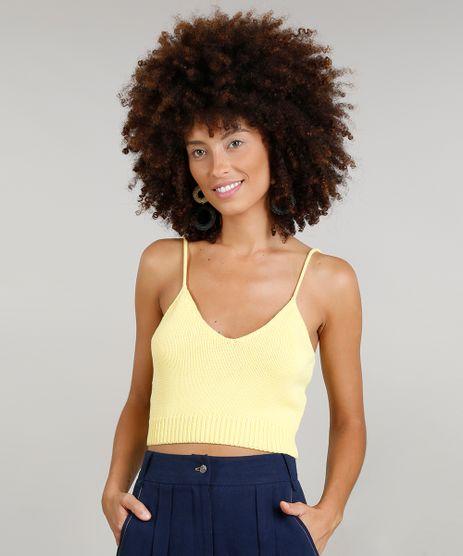 Top-Cropped-Feminino-Dress-To-em-Trico-Alcas-Finas-Decote-V-Amarelo-9226944-Amarelo_1