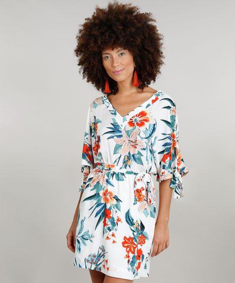 Vestido-Feminino-Curto-Amplo-Dress-to-Estampado-Floral-com-Faixa-Manga-Curta-Decote-V-Branco-9237740-Branco_1