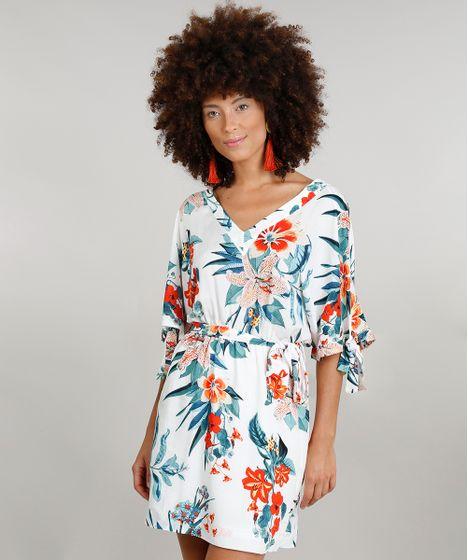 9966f6d9d Vestido Feminino Curto Amplo Dress to Estampado Floral com Faixa ...