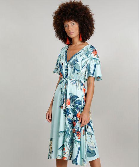 79331b0f2 Vestido Feminino Midi Dress To Estampado de Caju com Babado Decote V ...