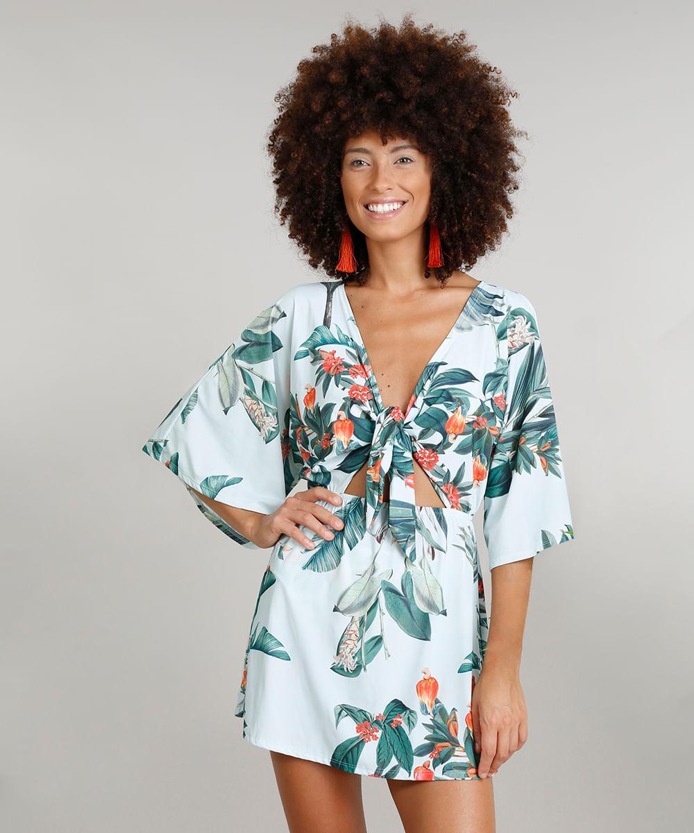f73f0e248 Saída de Praia Dress To Estampada de Caju com Nó Manga Curta Decote V com  Proteção UV50+ Verde Claro