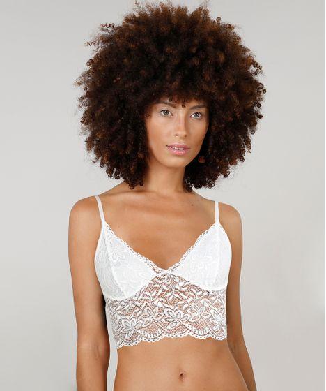 d9ec698ac Sutiã Cropped Triângulo Dress To em Renda Sem Bojo Off white - cea