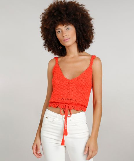 Regata-Cropped-Feminina-Dress-To-em-Croche-com-Tassel-Decote-V-Laranja-9226941-Laranja_1