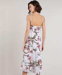 03dd37b34 Vestido Feminino Midi Estampado Floral com Fenda e Babado Alças ...