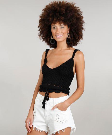 Regata-Cropped-Feminina-Dress-To-em-Croche-com-Tassel-Decote-V-Preta-9226941-Preto_1