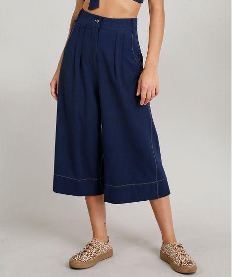 6cf4caf57 Calça Pantacourt Feminina Dress To Linho Azul Marinho - cea