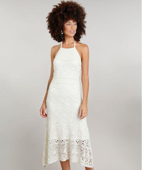 8d17b4589 Vestido Feminino Halter Neck Midi Dress To em Crochê Bege Claro - cea