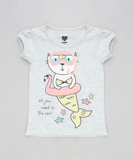 Blusa-Infantil-Gata-Sereia-Manga-Curta-Decote-Redondo-Cinza-Mescla-Claro-9301884-Cinza_Mescla_Claro_1