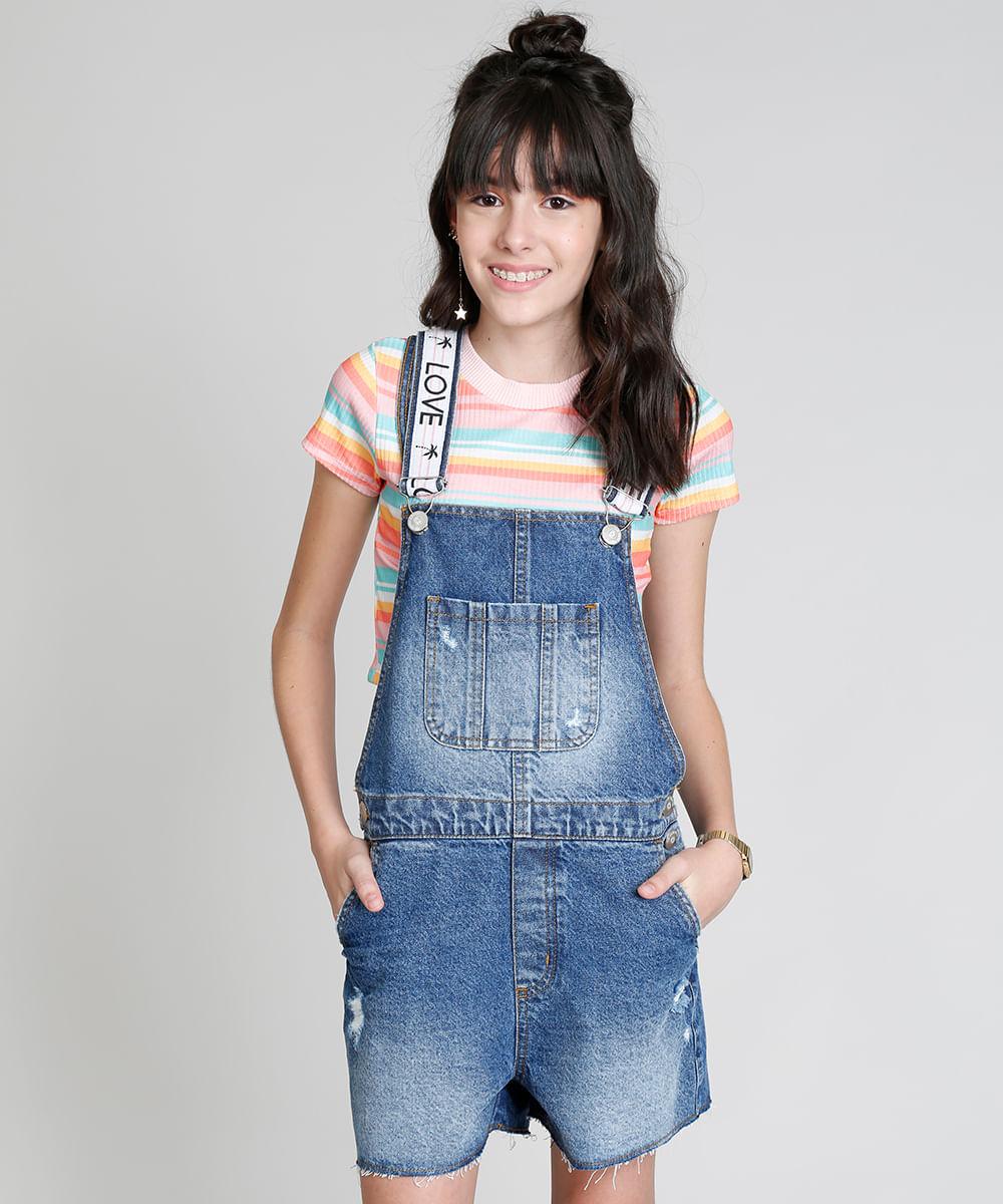 354d96345 Jardineira Jeans Infantil Love Dress com Puídos Azul Médio - cea