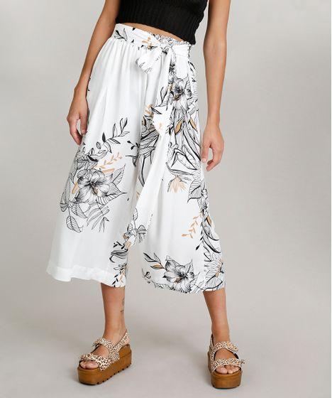 8deb1bea21 Calça Pantacourt Feminina Dress To Estampada Floral com Faixa Branca ...