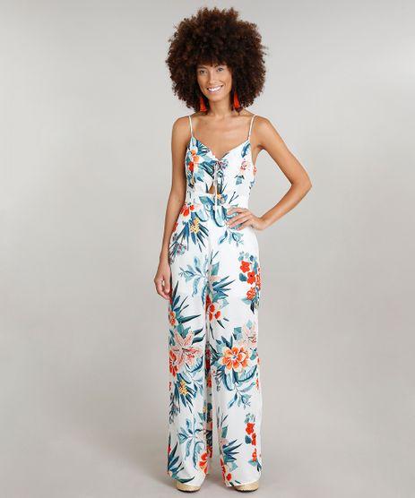 Macacao-Feminino-Dress-To-Estampado-Floral-com-Lace-Up-e-Vazado-Alcas-Finas-Decote-V-Branco-9237737-Branco_1