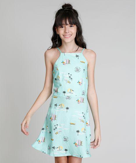 a64af81b3 Vestido Halter Neck Infantil Love Dress Estampado Praia com Tiras ...