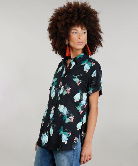Camisa-Feminina-Ampla-Dress-To-Estampada-de-Caju-com-Bolso-Manga-Curta-Preta-9235167-Preto_1