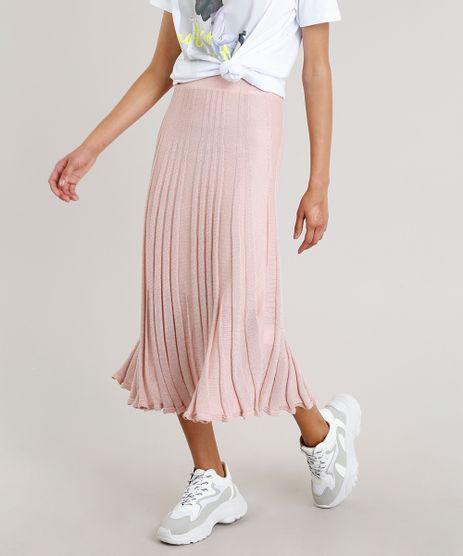 Saia-Midi-Feminina-em-Tricot-Plissado-com-Lurex-Rose-9264230-Rose_1