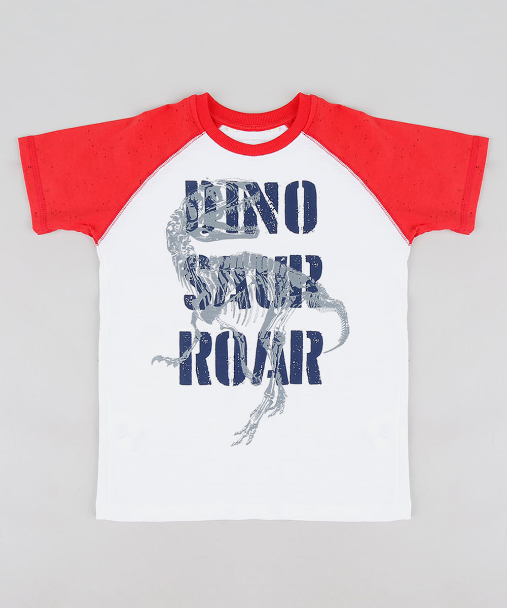 3156de07c2 Camiseta Infantil Dinossauro Raglan Manga Curta Gola Careca Branca ...