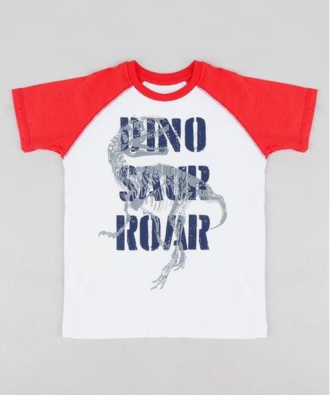 1940079c72a34 Camiseta Infantil Dinossauro Raglan Manga Curta Gola Careca Branca - cea