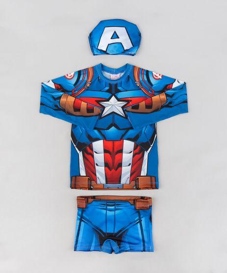 Conjunto-de-Camiseta-de-Praia-Infantil-Capitao-America---Sunga---Touca--com-Protecao-UV50--Azul-Royal-9231836-Azul_Royal_1