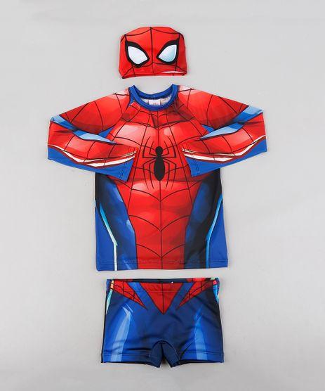 Conjunto-de-Camiseta-de-Praia-Infantil-Homem-Aranha---Sunga---Touca--com-Protecao-UV50--Azul-9231715-Azul_1